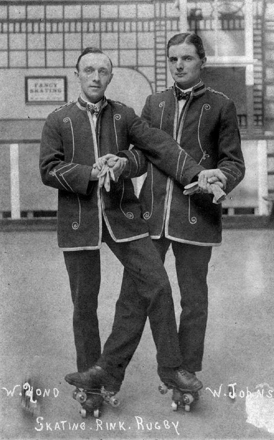 W. Johns and partner (W. ?ond) at the roller skating rink in Rugby.  1920s |  IMAGE LOCATION: (Warwickshire County Record Office) PEOPLE IN PHOTO: Johns, W, Johns as a surname