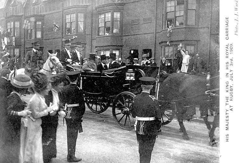 His Majesty The King in his royal carriage at Rugby.  July 3rd 1909 |  IMAGE LOCATION: (Warwickshire County Record Office) PEOPLE IN PHOTO: Edward VII