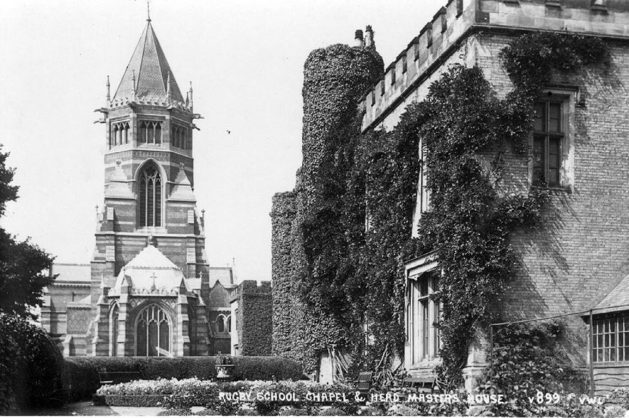 Rugby School chapel and headmaster's house.  1920s |  IMAGE LOCATION: (Warwickshire County Record Office)