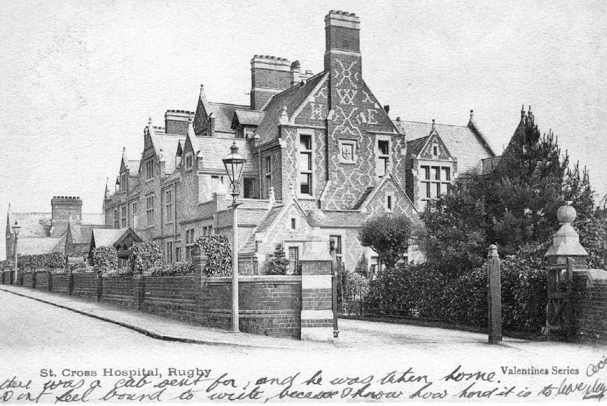 View of St Cross Hospital, Barby Road, Rugby.  Postmark 1903 |  IMAGE LOCATION: (Warwickshire County Record Office)