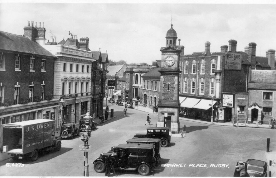 The Market place, Rugby.  1935 |  IMAGE LOCATION: (Warwickshire County Record Office)