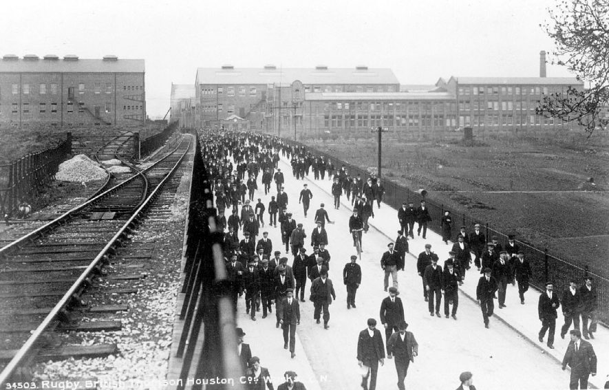 Employees leaving the B.T.H. factory, Rugby.  1910s |  IMAGE LOCATION: (Warwickshire County Record Office)