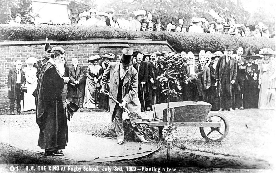 H.M. King Edward VII planting a tree at Rugby School.  July 3rd 1909 |  IMAGE LOCATION: (Warwickshire County Record Office) PEOPLE IN PHOTO: Edward VII