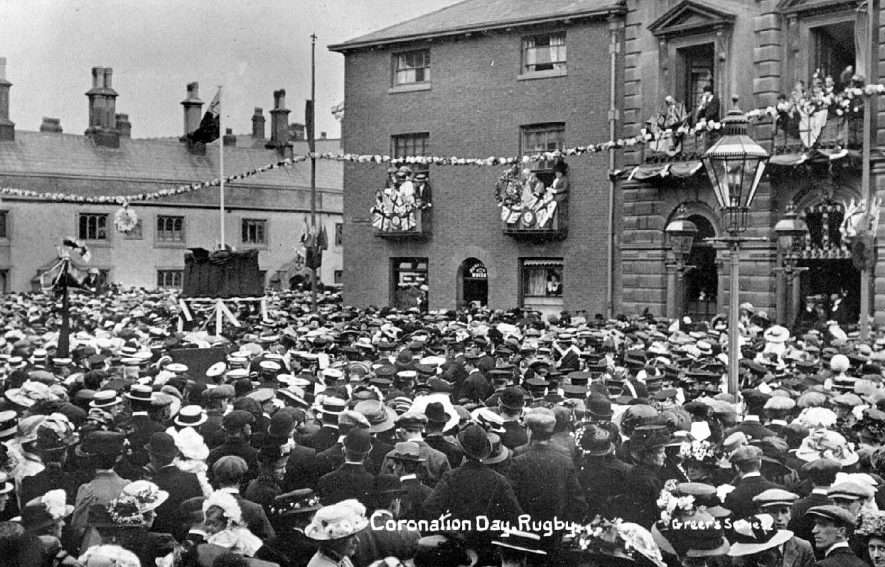 Coronation Day celebrations (King George V) in Rugby.  1911 |  IMAGE LOCATION: (Warwickshire County Record Office)