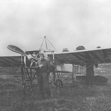 Rugby.  B.C. Hucks with his aeroplane