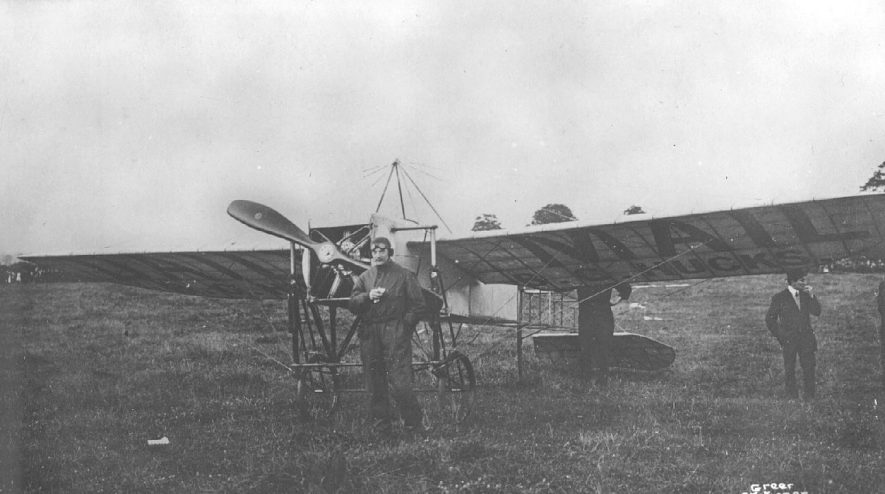 Mr B C Hucks, early aviator. with his aeroplane at Rugby.  July 30th 1912    IMAGE LOCATION: (Warwickshire County Record Office) PEOPLE IN PHOTO: Hucks, B C, Hucks as a surname