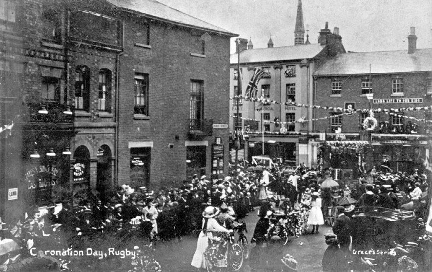 Crowds celebrating Coronation Day (King George V) in Rugby.  1911 |  IMAGE LOCATION: (Warwickshire County Record Office)