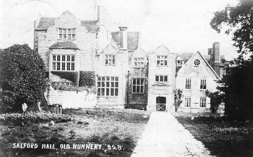 Front view of Salford Hall, Abbots Salford.  1900s |  IMAGE LOCATION: (Warwickshire County Record Office)