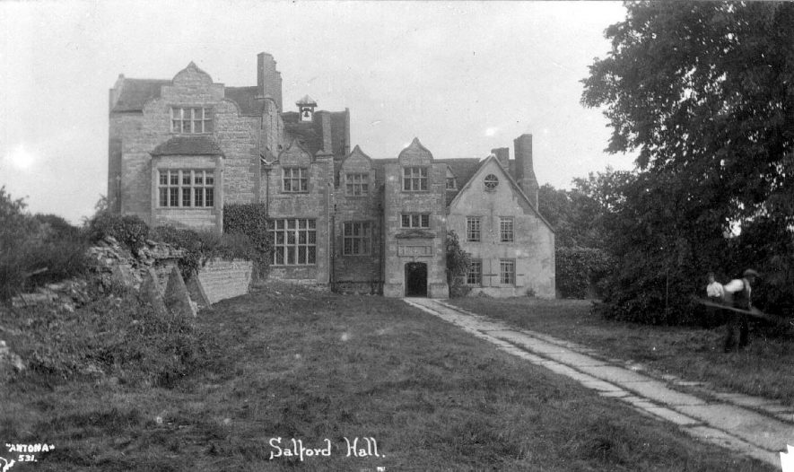 Jacobean stone built house with a bell turret, Salford Hall, Abotts Salford.  1920s |  IMAGE LOCATION: (Warwickshire County Record Office)