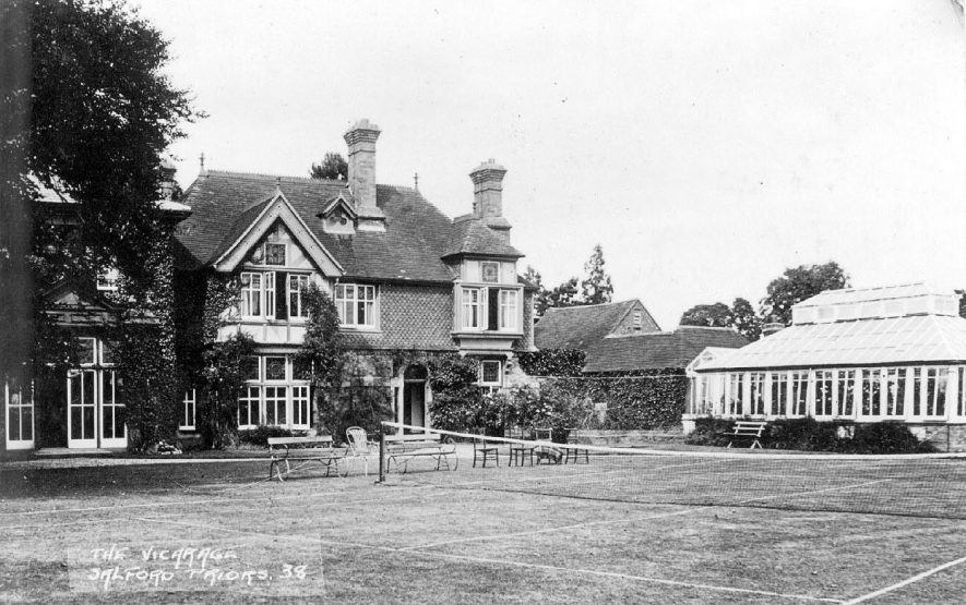 The Vicarage and its garden at Salford Priors.  1920s |  IMAGE LOCATION: (Warwickshire County Record Office)
