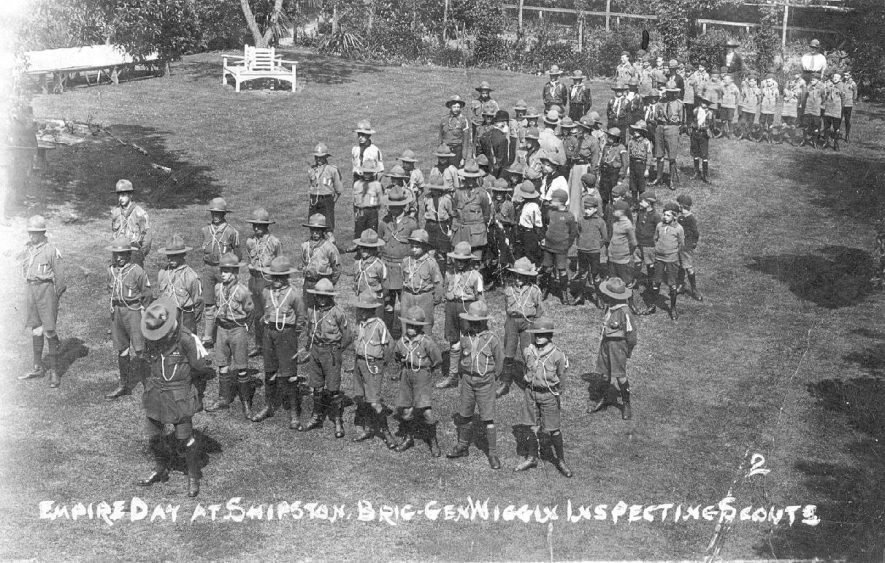 Empire Day 1921 Inspection of Scouts parade by Brigadier General Wiggin, Shipston on Stour.  1921 |  IMAGE LOCATION: (Warwickshire County Record Office) PEOPLE IN PHOTO: Wiggin, Brigadier General, Wiggin as a surname