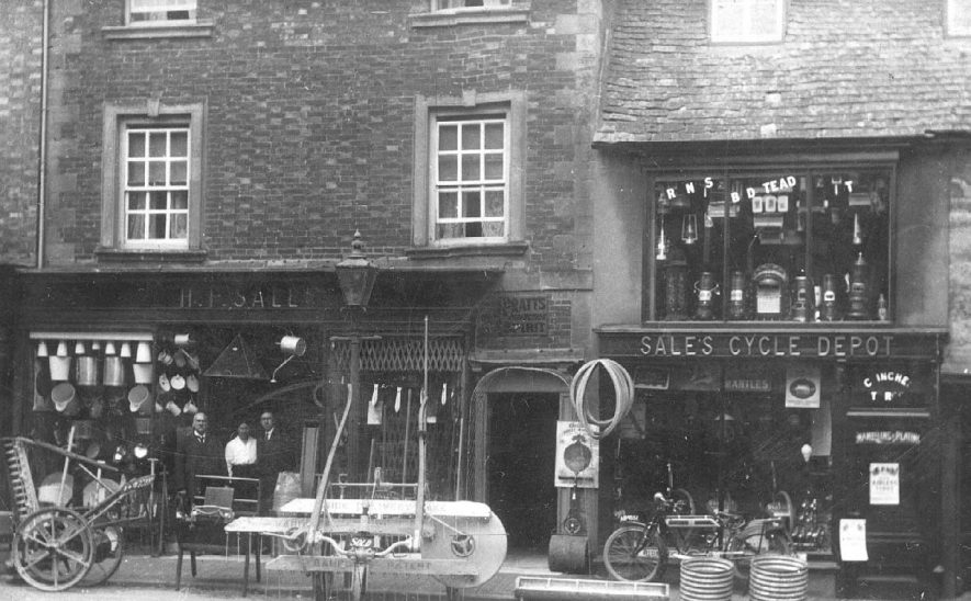 H.F. Sale's ironmongery & cycle shop in Sheep Street, Shipston on Stour.  1910s    IMAGE LOCATION: (Warwickshire County Record Office)