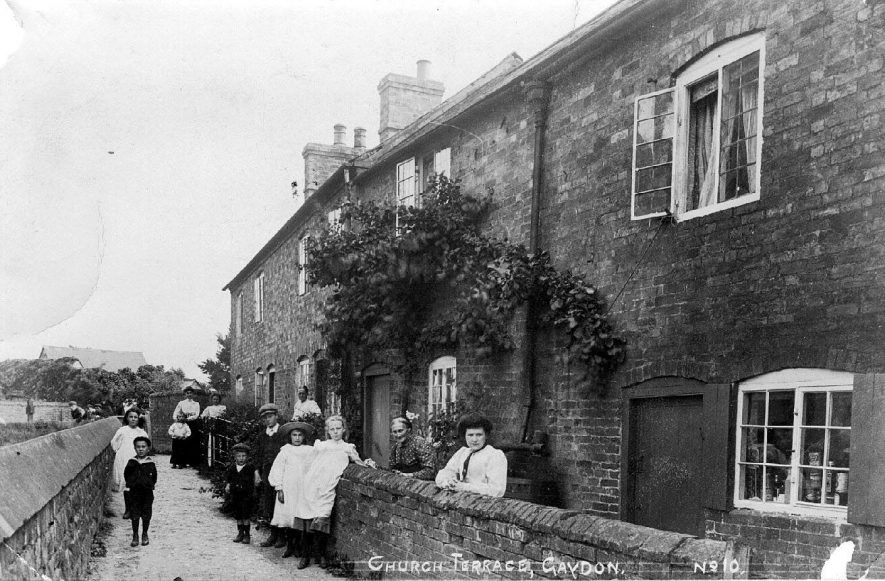 View of Church Terrace, Gaydon, and some of the people who live there.  1900s |  IMAGE LOCATION: (Warwickshire County Record Office)