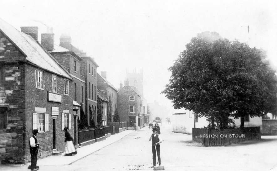 Roadsweepers at work in Shipston on Stour.  1900s |  IMAGE LOCATION: (Warwickshire County Record Office)