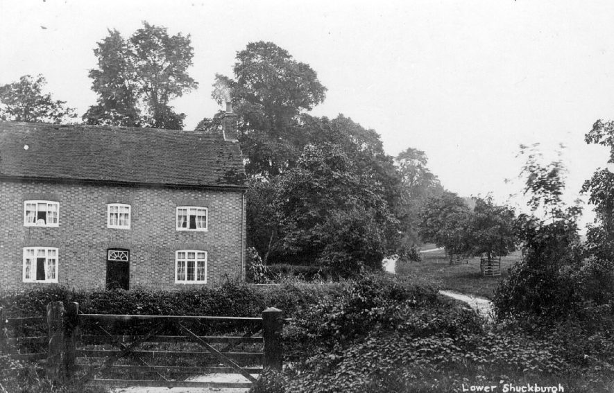 Thick Thorn House, Lower Shuckburgh. This house was built by the Shuckburgh family. The horse chestnut trees lining the lane going up the hill (known as Mill Hill), were planted by the Shuckburgh family in 1897, to commemorate Queen Victoria's Diamond Jubilee. The lane is now called Jubilee Avenue.  1920s |  IMAGE LOCATION: (Warwickshire County Record Office)
