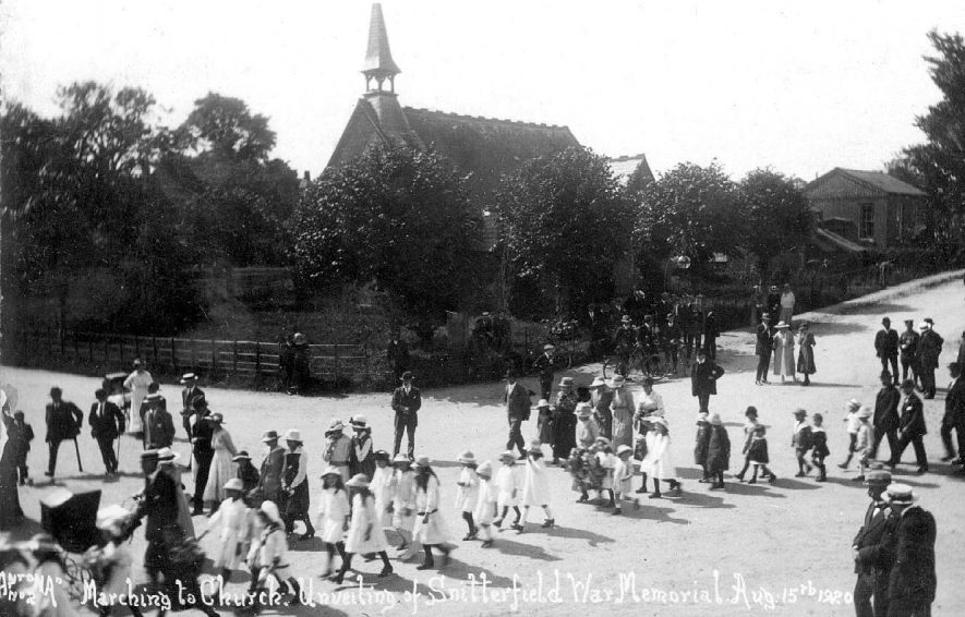Children marching to church at the unveiling of the War Memorial, Snitterfield.  August 15th 1920    IMAGE LOCATION: (Warwickshire County Record Office)
