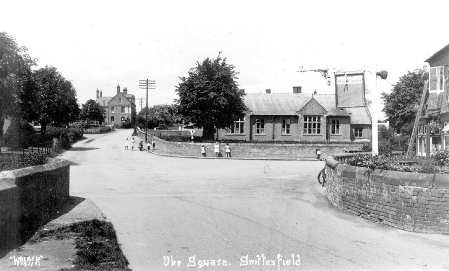 The Square, Snitterfield.  Showing the school and the New Inn.  1930s |  IMAGE LOCATION: (Warwickshire County Record Office)