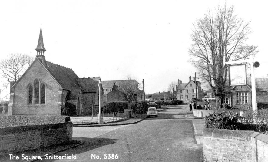 The Square showing the Methodist Chapel. Across the road to the right is the Primary School. The sign is that of the Foxhunter public house, Snitterfield.  1960 |  IMAGE LOCATION: (Warwickshire County Record Office)