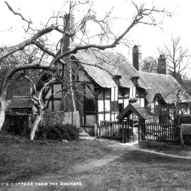 Anne Hathaway's Cottage, from the orchard.  1930s |  IMAGE LOCATION: (Warwickshire County Record Office)