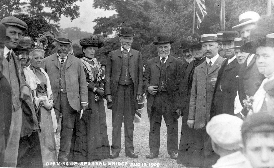 A group of local dignitaries at the opening of Spernall bridge. It has been suggested that Mr & Mrs John Bowen are third and fourth from left.12 August 1908.02525 |  IMAGE LOCATION: (Warwickshire County Record Office)