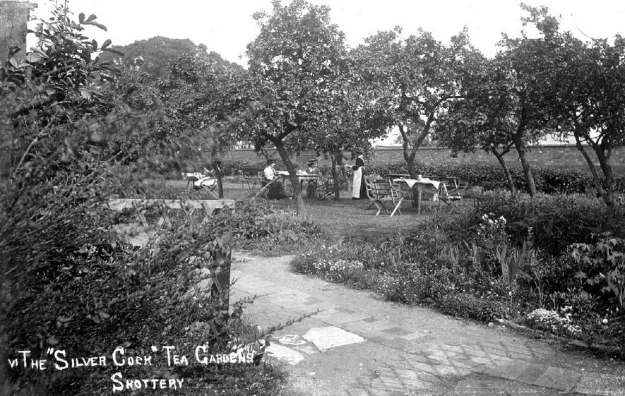 The Silver Cock Tea Rooms, Shottery in the garden.  1900s |  IMAGE LOCATION: (Warwickshire County Record Office)