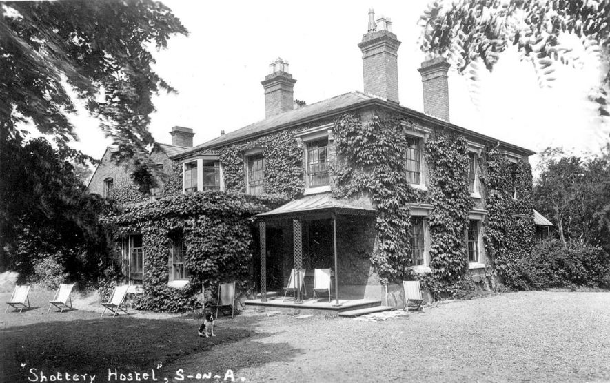 Shottery Hotel showing the garden with deck chairs.  1930s |  IMAGE LOCATION: (Warwickshire County Record Office)