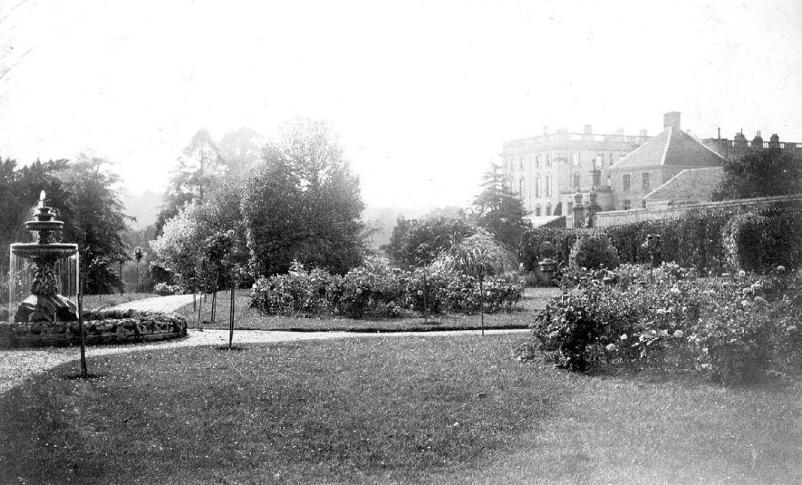 Gardens at Stoneleigh Abbey with house in distance, Stoneleigh.  1900s |  IMAGE LOCATION: (Warwickshire County Record Office)