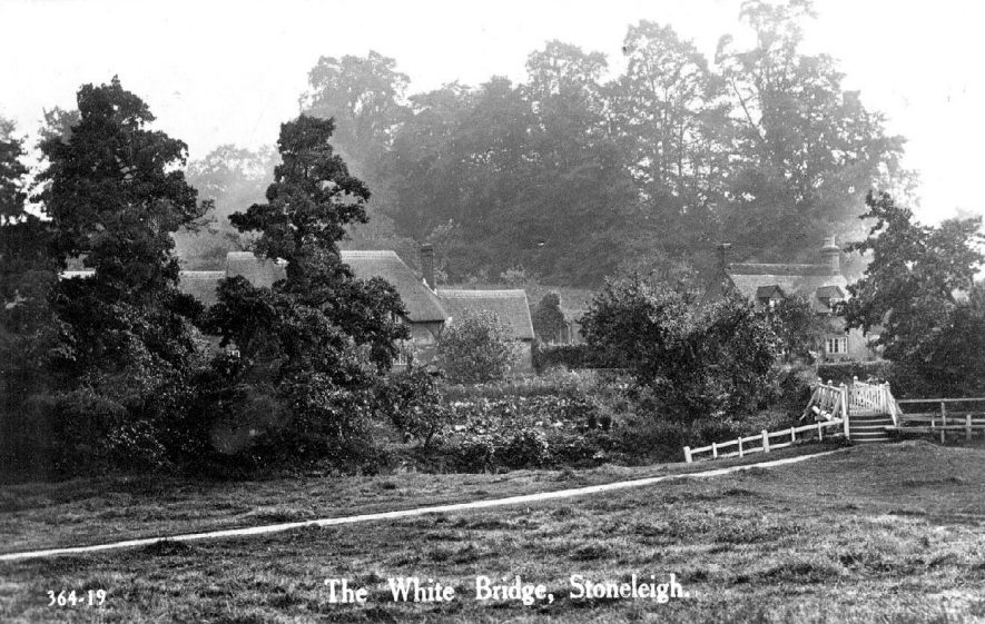 White foot bridge over River Sowe at Stoneleigh.  1930s |  IMAGE LOCATION: (Warwickshire County Record Office)