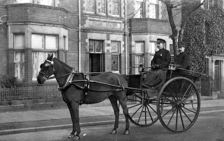 P.C. Bazely outside Stratford Police Station in horse and trap, Stratford upon Avon.  1912 |  IMAGE LOCATION: (Warwickshire County Record Office) PEOPLE IN PHOTO: Bazeley, Police Constable, Bazeley as a surname