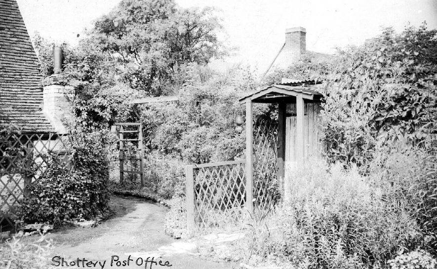 Shottery Post Office. Gardens at the rear.  1910s    IMAGE LOCATION: (Warwickshire County Record Office)