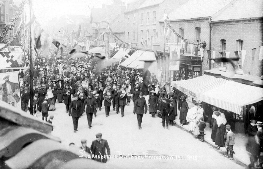 Shakespeare's birthday procession. Stratford upon Avon.  1911