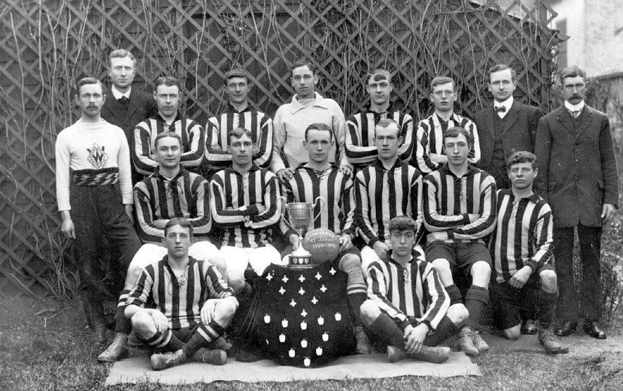 Team photograph of St John's football team, Stratford -upon-Avon.  1909 - 1910 |  IMAGE LOCATION: (Warwickshire County Record Office)