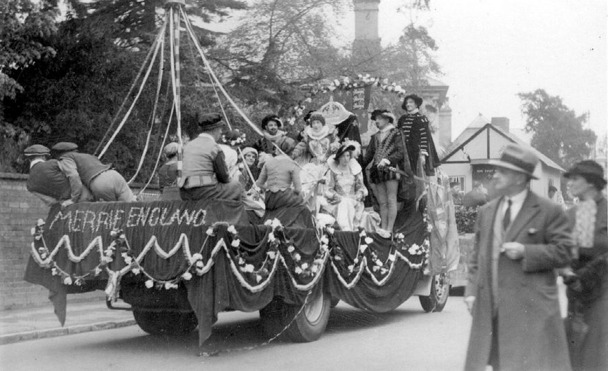 Decorated float in Coronation Celebration in Stratford upon Avon.  1937 |  IMAGE LOCATION: (Warwickshire County Record Office)