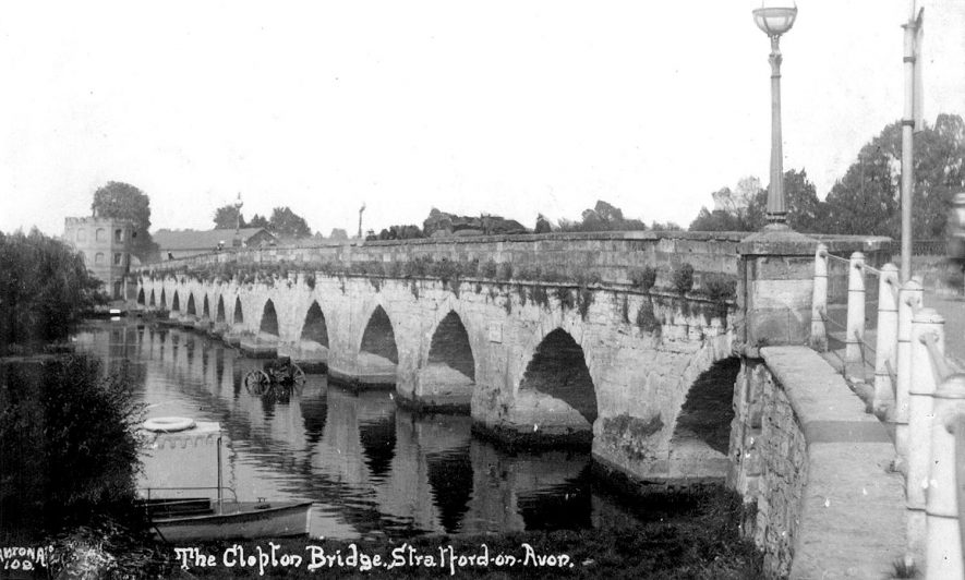Clopton Bridge, Stratford upon Avon.  1920s