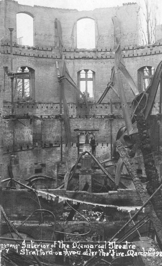 Interior of the Memorial Theatre, Stratford upon Avon after the fire on 26 March 1926. |  IMAGE LOCATION: (Warwickshire County Record Office)