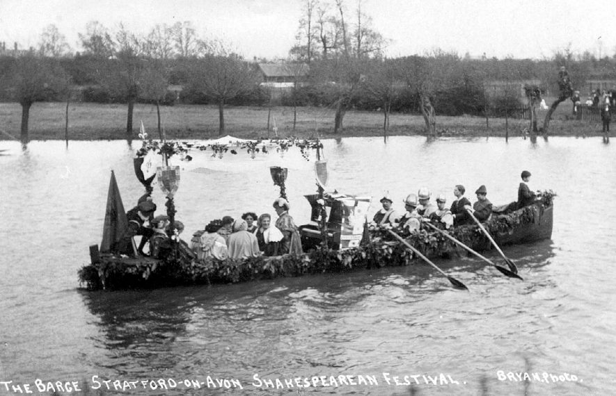 Decorated barge at  the Shakespearean Festival, Stratford upon Avon.  1900s |  IMAGE LOCATION: (Warwickshire County Record Office)