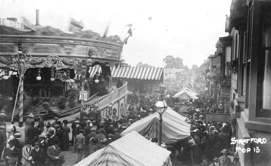Stratford upon Avon Mop, showing fairground machines.  1910s |  IMAGE LOCATION: (Warwickshire County Record Office)