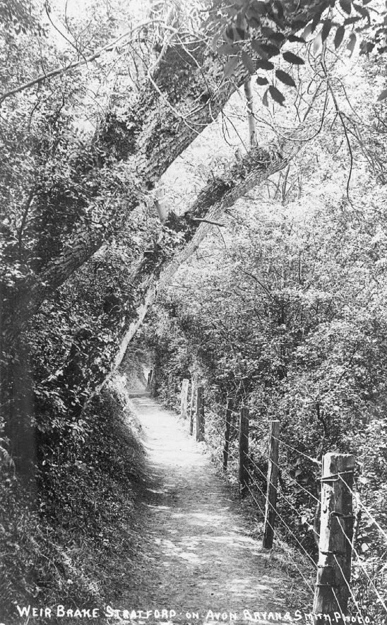 A lane called Weir Brake, Stratford upon Avon.  1900s |  IMAGE LOCATION: (Warwickshire County Record Office)