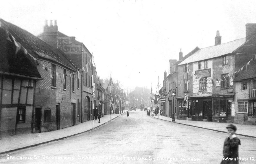Greenhill Street, Stratford upon Avon, decorated for Shakespearean festival.  1908 |  IMAGE LOCATION: (Warwickshire County Record Office)