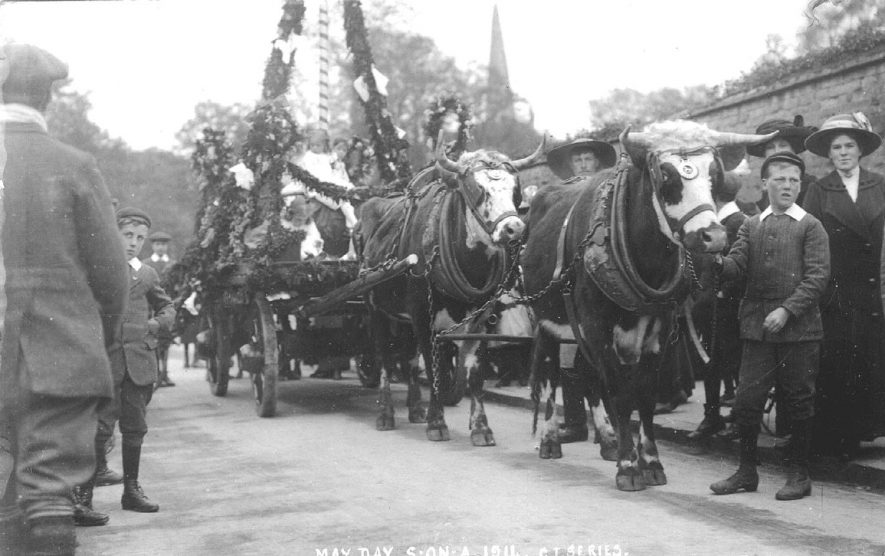 A decorated float drawn by two oxen on May Day, Stratford upon Avon.  1911 |  IMAGE LOCATION: (Warwickshire County Record Office)