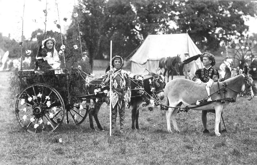 Decorated donkey and cart with children in fancy dress at a carnival in Stratford upon Avon.  1900s |  IMAGE LOCATION: (Warwickshire County Record Office)