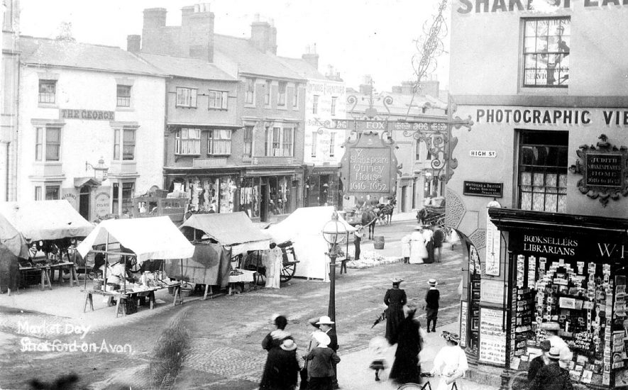 Market day in Bridge Street, Stratford upon Avon.  1900s |  IMAGE LOCATION: (Warwickshire County Record Office)