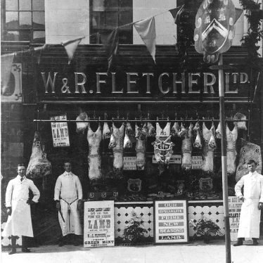 Stratford upon Avon.  W & R Fletcher Ltd. butchers shop