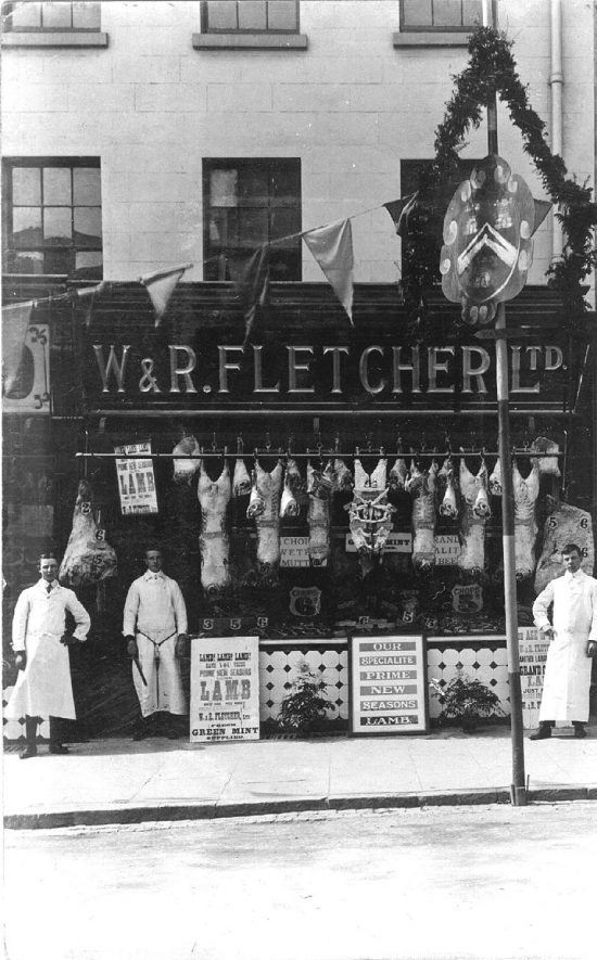 Exterior of  W & R Fletcher Ltd, butchers shop 39a High Street, Stratford upon Avon.  1900s (W & R Fletcher were an Australian Company with cold stores,depots & shops in Great Britain.They were taken over by Union Cold Storage Co around 1910 eventually being badged as Dewhurst the Master Butcher.) |  IMAGE LOCATION: (Warwickshire County Record Office)