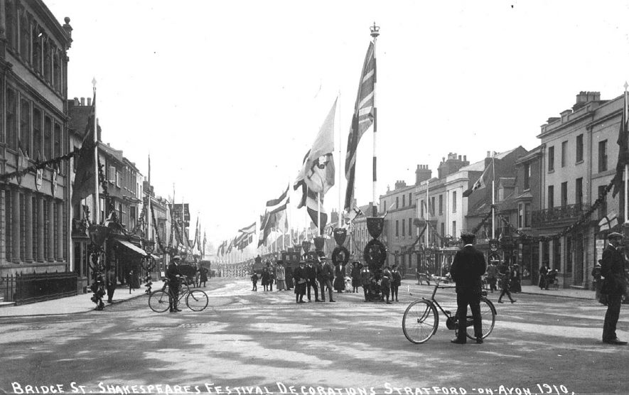 Shakespeare Festival decorations in Bridge Street, Stratford upon Avon.  1910 |  IMAGE LOCATION: (Warwickshire County Record Office)