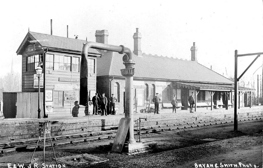 East & West junction railway station, Stratford upon Avon. 1900s[The correct location of this photographis the A4390 Seven Sisters roundaout by Greenways car park and Old Town Mews. This was the location of the Midland Junction Station in Stratford upon Avon and the road is in fact built on the old trackbed.] |  IMAGE LOCATION: (Warwickshire County Record Office)