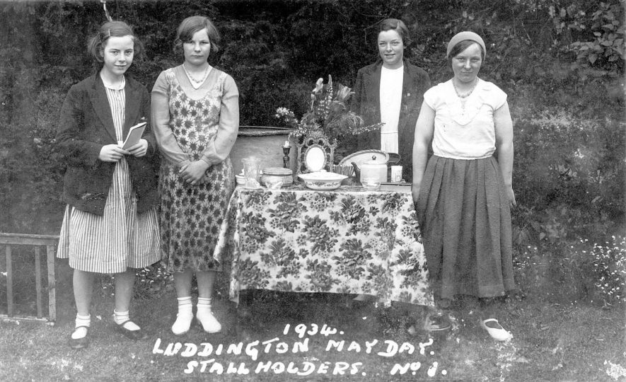 Stall holders at Luddington May Day celebrations.  1934 |  IMAGE LOCATION: (Warwickshire County Record Office)
