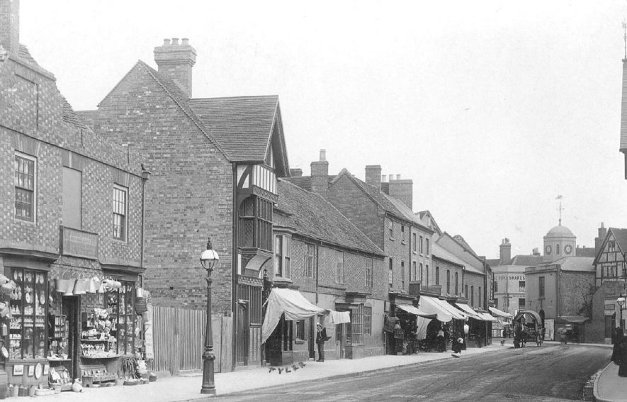 Birch Bros. China and glass dealers, 11 Henley Street, Stratford upon Avon. This shop stood on the site of the old free library.  1900s |  IMAGE LOCATION: (Warwickshire County Record Office)