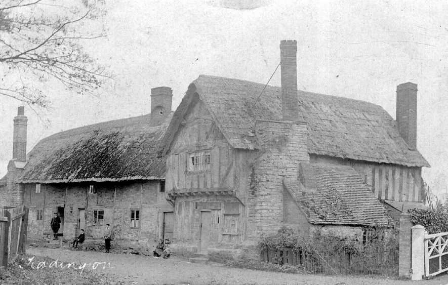 Thatched and half timbered house in Tiddington.  1900s |  IMAGE LOCATION: (Warwickshire County Record Office)