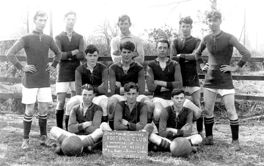 Stretton on Dunsmore football club team, winners of the runners up medals in the 3rd division Rugby & District League.  1923/24    IMAGE LOCATION: (Warwickshire County Record Office)